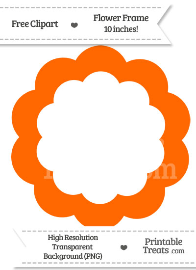 Safety Orange Flower Frame Clipart from PrintableTreats.com