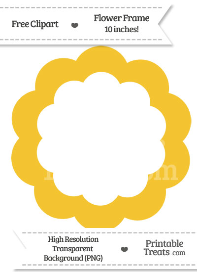 Saffron Yellow Flower Frame Clipart from PrintableTreats.com