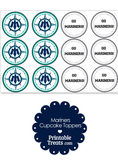picture relating to Mariners Printable Schedule called Seattle Mariners Cupcake Toppers Printable
