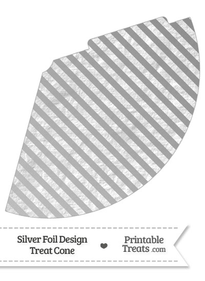 Silver Foil Stripes Party Cone from PrintableTreats.com