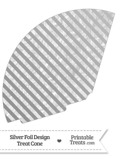 Silver Foil Stripes Treat Cone from PrintableTreats.com