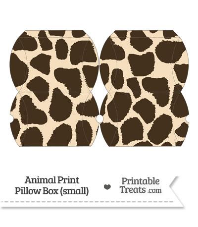 Small Giraffe Print Pillow Box from PrintableTreats.com