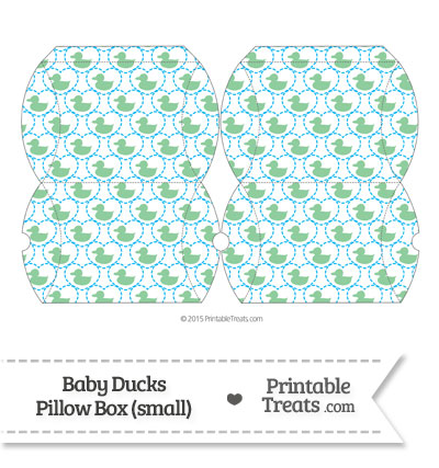 Small Green Baby Ducks Pillow Box from PrintableTreats.com