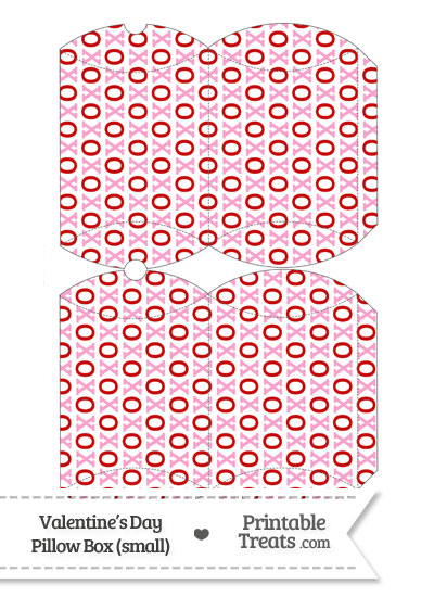 Small Red and Pink Hugs and Kisses Pillow Box from PrintableTreats.com