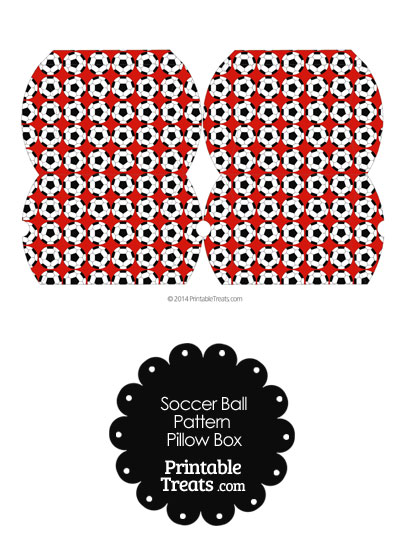 Small Red Soccer Ball Pattern Pillow Box From PrintableTreats