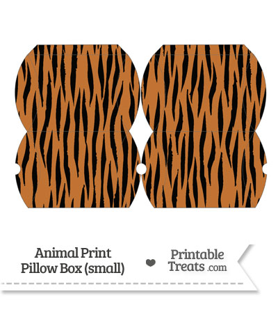Small Tiger Print Pillow Box from PrintableTreats.com