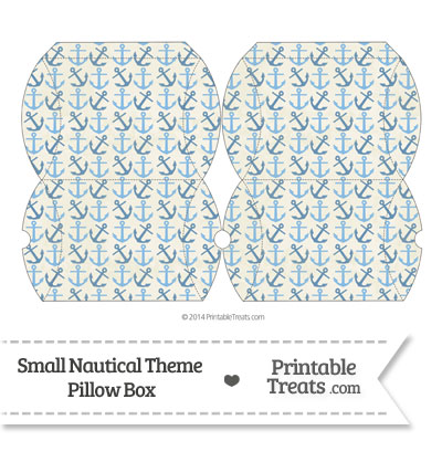 Small Vintage Blue Anchors Pillow Box from PrintableTreats.com