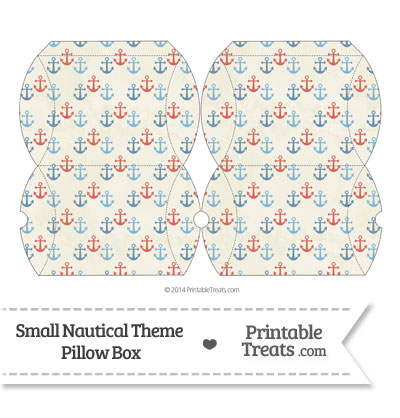Small Vintage Red and Blue Anchors Pillow Box from PrintableTreats.com
