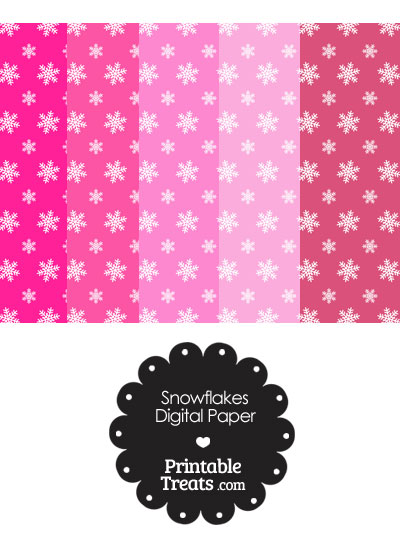 Snowflake Scrapbook Paper With Pink Background Printable Treats