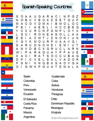 flag coloring pages spanish speaking countries word search printable treats com
