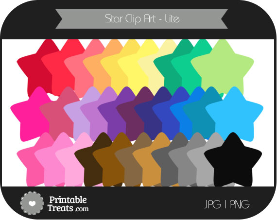 star digital clip art in rainbow colors