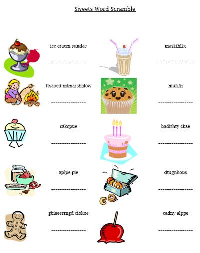 sweet treats word scramble