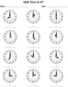 telling time by the hour worksheets printable. Black Bedroom Furniture Sets. Home Design Ideas