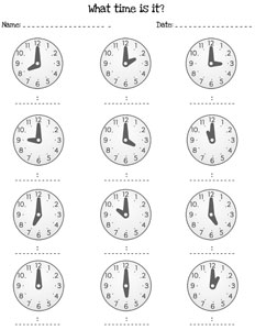 Telling Time by the Hour Worksheets — Printable Treats.com