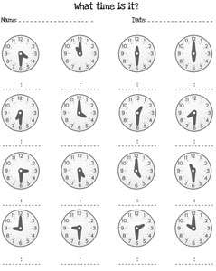 Telling Time Half Hour Worksheets — Printable Treats.com