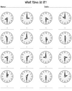 telling time by the half hour worksheets