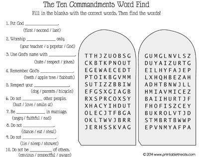 Ten Commandments Word Search — Printable Treats.com