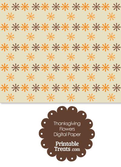 Thanksgiving Flowers Digital Scrapbook Paper Printable Treats