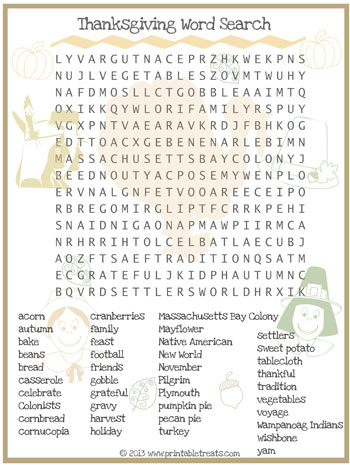 Critical image regarding printable thanksgiving word searches