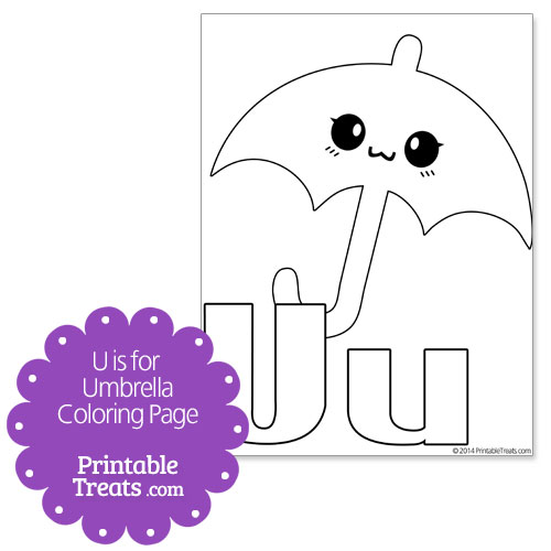 U is for Umbrella Coloring Page Printable Treats