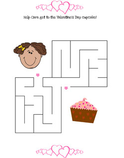 Valentine Cupcake Maze Easy ...