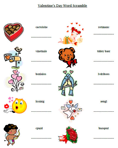 Valentine S Day Word Scramble Printable Treats Com