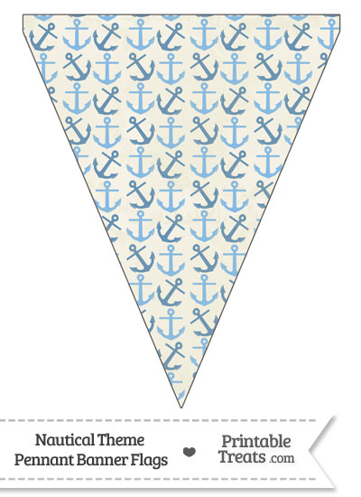 Vintage Blue Anchors Pennant Banner Flag from PrintableTreats.com