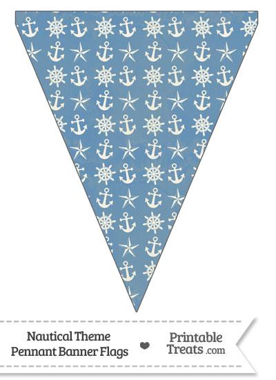 Vintage Blue Nautical Pennant Banner Flag from PrintableTreats.com