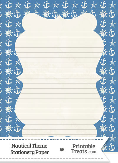 Vintage Blue Nautical Stationery Paper from PrintableTreats.com
