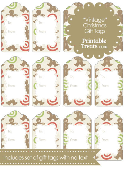 vintage gingerbread cookie gift tags  u2014 printable treats com