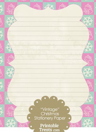 vintage hello kitty christmas checkered stationery paper  u2014 printable treats com