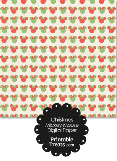 Vintage Minnie Mouse Christmas Digital Scrapbook Paper Printable