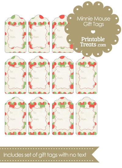 Vintage Minnie Mouse Christmas Gift Tags — Printable Treats.com