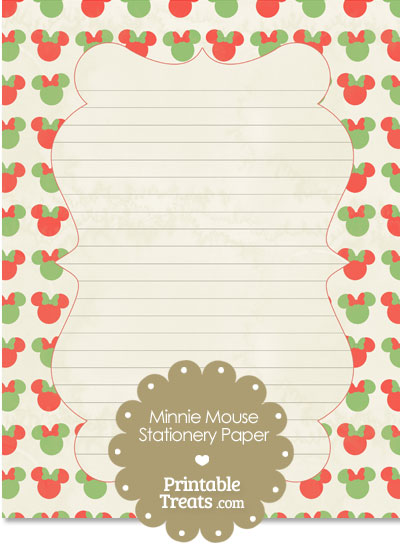 Vintage Minnie Mouse Christmas Stationery Paper From PrintableTreats