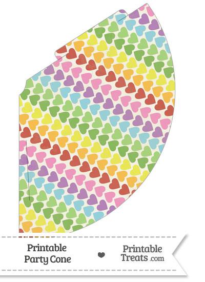 Vintage Rainbow Hearts Party Cone from PrintableTreats.com