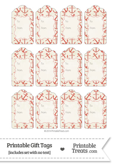 Vintage Red Anchors Gift Tags from PrintableTreats.com