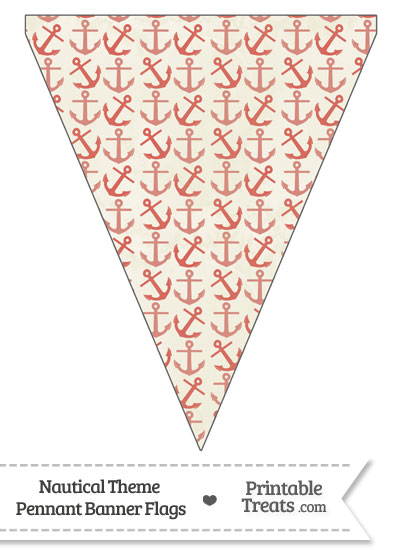 Vintage Red Anchors Pennant Banner Flag from PrintableTreats.com