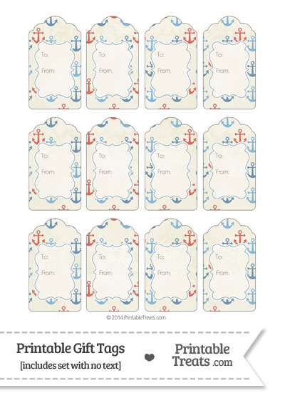 Vintage Red and Blue Anchors Gift Tags from PrintableTreats.com