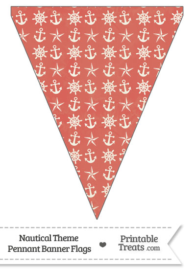 Vintage Red Nautical Pennant Banner Flag from PrintableTreats.com