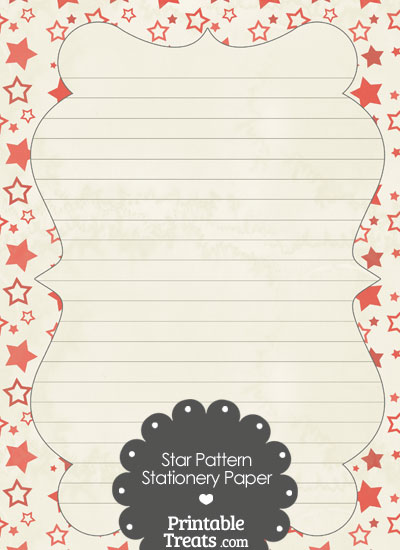 Vintage Red Star Pattern Stationery Paper Printable Treats – Stationery Paper with Lines