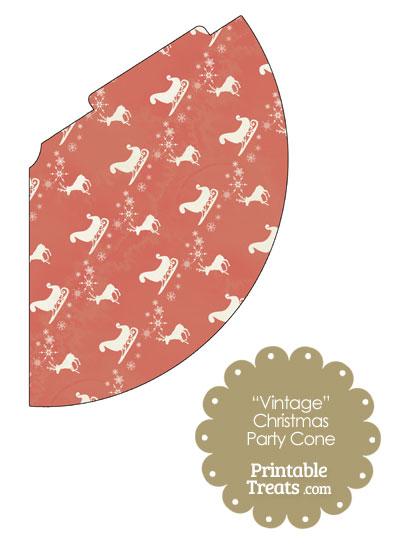 Vintage Santas Sleigh Party Cone from PrintableTreats.com