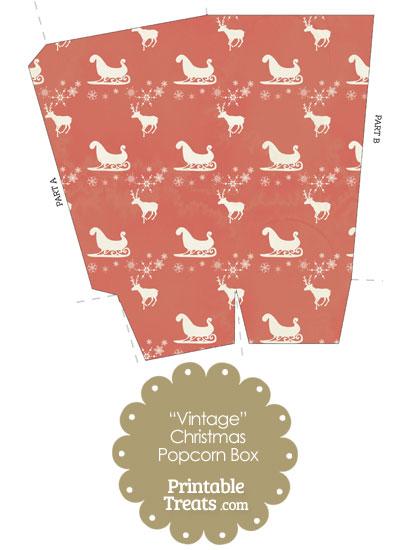 Vintage Santas Sleigh Popcorn Box from PrintableTreats.com