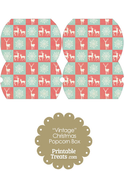 Vintage Small Reindeer and Snowflakes Pillow Box from PrintableTreats.com