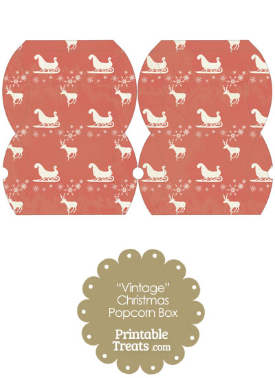 Vintage Small Santas Sleigh Pillow Box from PrintableTreats.com