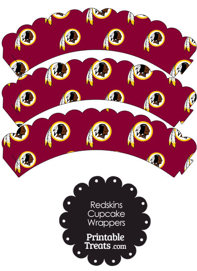 Washington Redskins Logo Scalloped Cupcake Wrappers from PrintableTreats.com