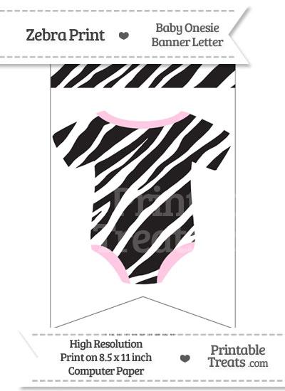 Zebra Print Baby Onesie Bunting Banner Blank Spacer Flag from PrintableTreats.com