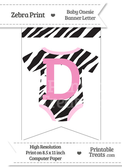 Zebra Print Baby Onesie Bunting Banner Letter D from PrintableTreats.com