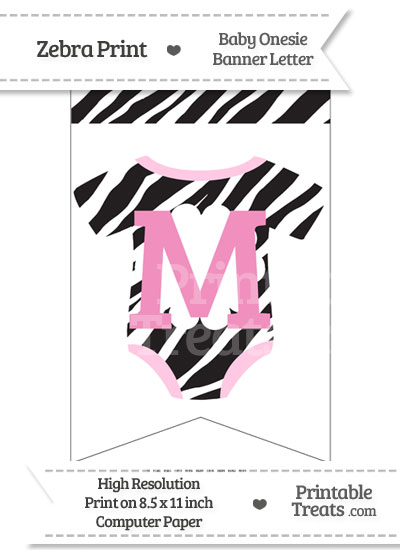 Zebra Print Baby Onesie Bunting Banner Letter M from PrintableTreats.com