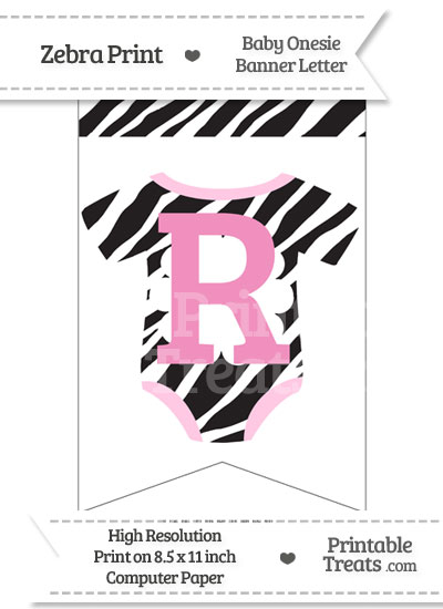 Zebra Print Baby Onesie Bunting Banner Letter R from PrintableTreats.com