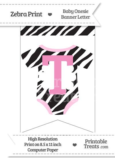 Zebra Print Baby Onesie Bunting Banner Letter T from PrintableTreats.com